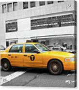 Yellow Cab In Manhattan With Black And White Background Acrylic Print