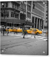 Yellow Cab On Fifth Avenue, New York 4 Acrylic Print