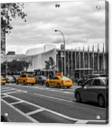 Yellow Cabs By The United Nations, New York 2 Acrylic Print