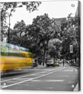 Yellow Cabs In Central Park, New York 4 Acrylic Print