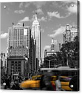 Yellow Cabs In Midtown Manhattan, New York Acrylic Print