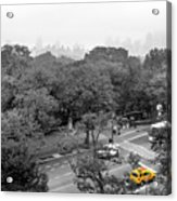 Yellow Cabs Near Central Park, New York Acrylic Print