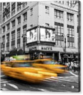 Yellow Cabs Near Macy's Department Store, New York Acrylic Print