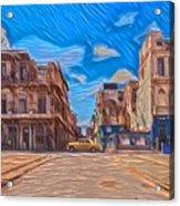 Yellow Car In Cuba Acrylic Print