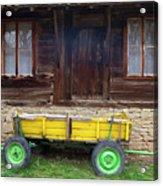Yellow Cart And Green Wheels  Acrylic Print