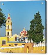Yellow Church In Cholula, Mexico Acrylic Print