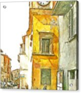 Yellow Clock Tower Acrylic Print