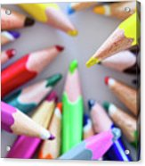 Yellow. Colored Pencils Used By Children Acrylic Print