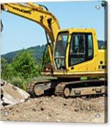 Yellow Excavator In Anacortes Acrylic Print