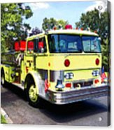 Yellow Fire Truck Acrylic Print
