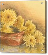 Yellow Flowers With Still Life Acrylic Print
