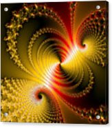 Yellow Gold Red Decorative Abstract Art Acrylic Print