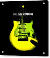 Yellow Guitar Full Time Occupation Acrylic Print