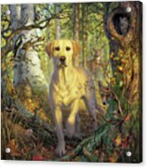 Yellow Lab In Fall Acrylic Print