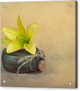 Yellow Lily And Green Bottle Acrylic Print