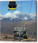 Yellow Line Cable Cars And Andes Mountains Bolivia Acrylic Print