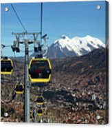 Yellow Line Cable Cars And Mt Illimani La Paz Bolivia Acrylic Print