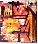 Yellow Maroon And Brown Abstract Acrylic Print