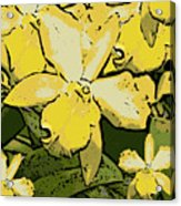 Yellow Orchids Woodcut Acrylic Print