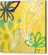 Yellow Paisley Garden Acrylic Print