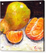 Yellow Pear With Tangerine Slices Grace Venditti Montreal Art Acrylic Print