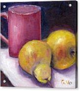 Yellow Pears And Mug Stll Life Grace Venditti  Acrylic Print
