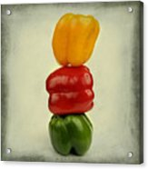 Yellow Red And Green Bell Pepper Acrylic Print