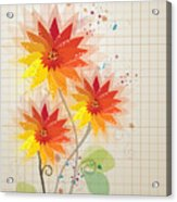Yellow Red Floral Illustration Acrylic Print