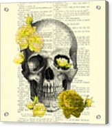 Skull With Yellow Roses Dictionary Art Print Acrylic Print