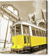 yellow tram Lisbon Acrylic Print