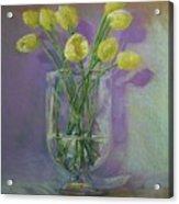 Yellow Tulips In A Glass Acrylic Print