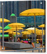 Yellow Umbrellas Acrylic Print