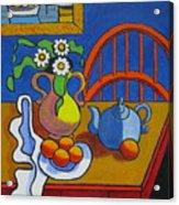 Yellow Vase With Blue Teapot Acrylic Print