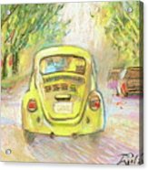 Yellow Vw Acrylic Print