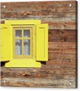 Yellow Window On Wooden Hut Wall Acrylic Print