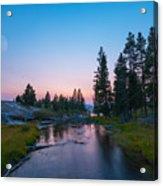 Yellowstone National Park Sunset And Moon Acrylic Print
