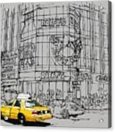Yelow Cab On New York Streets Acrylic Print