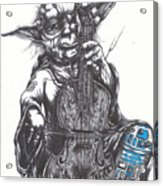 Yoda Soothes Baby R2 With The Charm Of His Homegrown Cello Acrylic Print by Tai Taeoalii
