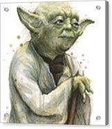 Yoda Watercolor Acrylic Print