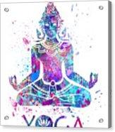 Yoga Meditation Watercolor Print Acrylic Print