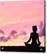 Yoga On Beach Acrylic Print