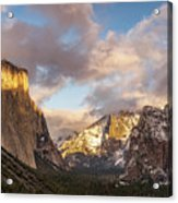 Yosemite Tunnel View Sunset In Winter Acrylic Print