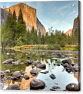 Yosemite Valley Reflected In Merced River Acrylic Print
