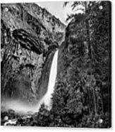 Yosemite Waterfall Bw Acrylic Print