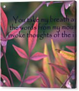 You Take My Breath Away Acrylic Print