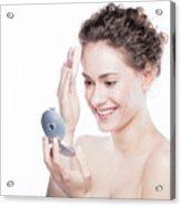 Young Beautiful Woman Applying Powder On Her Skin. Acrylic Print