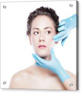 Young Beautiful Woman's Skin Review Before Treatment. Acrylic Print