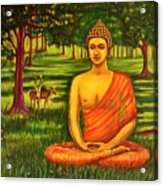 Young Buddha Meditating In The Forest Acrylic Print