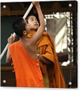 Young Buddhist Monks Laos Acrylic Print