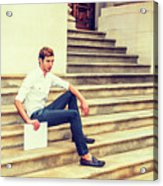 Young Businessman Sitting On Stairs, Relaxing Outside Acrylic Print